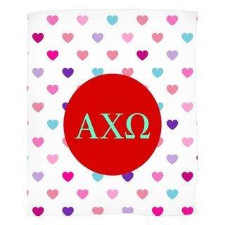Alpha Chi Omega Hearts Fleece Blanket