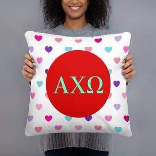 Alpha Chi Omega Hearts Pillow