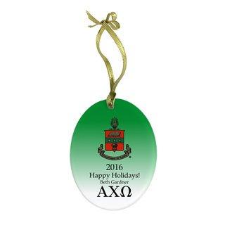Alpha Chi Omega Holiday Color Crest - Shield Glass Ornament