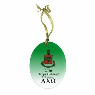 Alpha Chi Omega Holiday Color Crest- Shield Glass Ornament