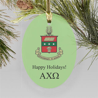 Alpha Chi Omega Holiday Color Crest- Shield Ornament