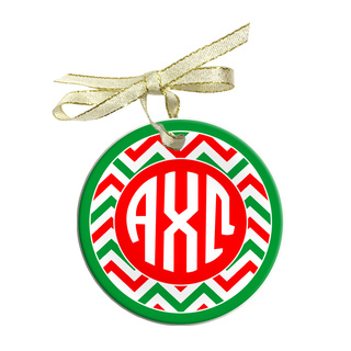 Alpha Chi Omega Holiday Sorority Round Frosted Glass Ornament