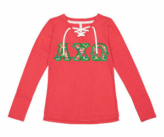 Alpha Chi Omega LAT - Sorority Fine Jersey Lace-Up Long Sleeve T-Shirt