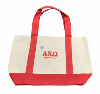 Alpha Chi Omega Layered Letters Boat Tote - Closeout