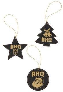 Alpha Chi Omega Leatherette Holiday Ornament Set (3)