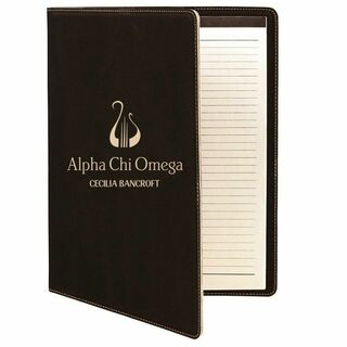 Alpha Chi Omega Leatherette Mascot Portfolio with Notepad