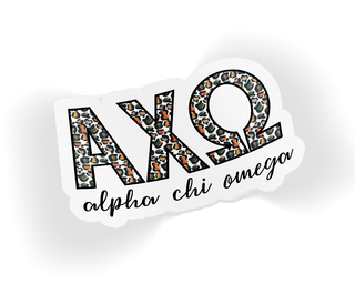 Alpha Chi Omega Leopard Sticker