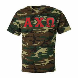 DISCOUNT-Alpha Chi Omega Lettered Camouflage T-Shirt