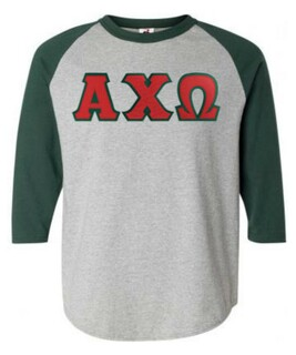 DISCOUNT-Alpha Chi Omega Lettered Raglan Shirt