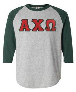 DISCOUNT-Alpha Chi Omega Lettered Raglan Shirt