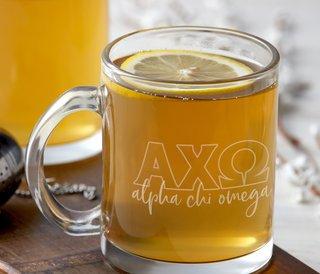 Alpha Chi Omega Letters Glass Mug
