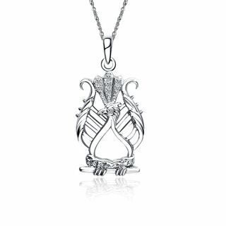 Alpha Chi Omega Lyre Bird Pendant with Lab-Created Diamonds