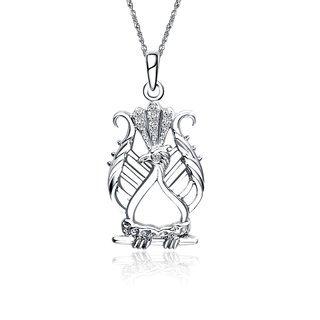 Alpha Chi Omega Lyre Bird Pendant with Lab-Created Diamonds