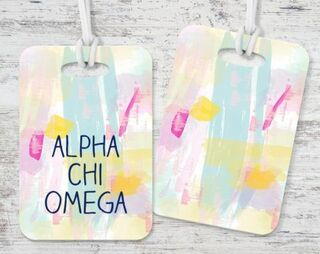 Alpha Chi Omega Watercolor Luggage Tag