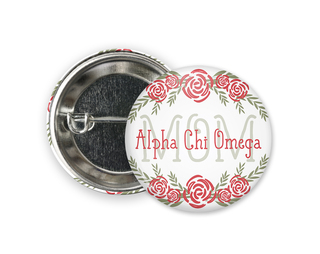 Alpha Chi Omega Mom Floral Button
