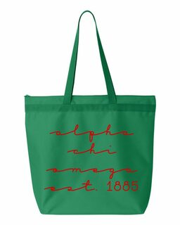 Alpha Chi Omega New Script Established Tote Bag