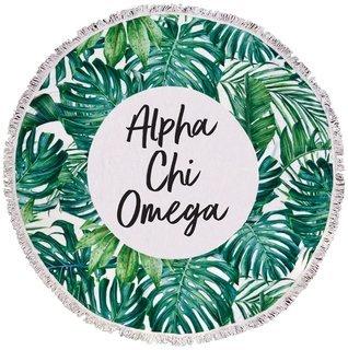 Alpha Chi Omega Palm Leaf Fringe Towel Blanket