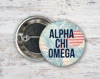 Alpha Chi Omega Paradise Found Button