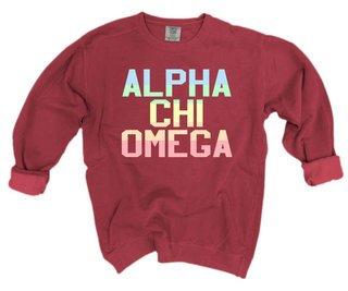 Alpha Chi Omega Pastel Rainbow Crew - Comfort Colors