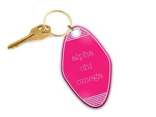 Alpha Chi Omega Pink Motel Keychain
