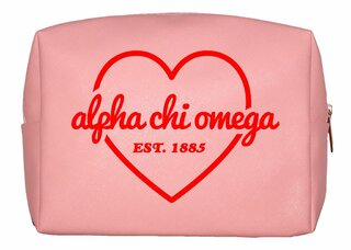 Alpha Chi Omega Pink with Red Heart Makeup Bag