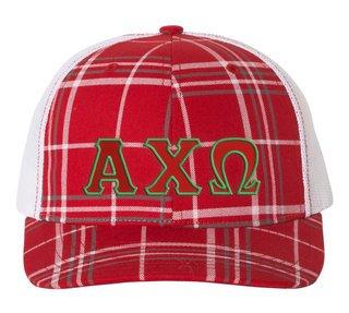 Alpha Chi Omega Plaid Snapback Trucker Hat - CLOSEOUT