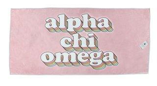 Alpha Chi Omega Plush Retro Beach Towel