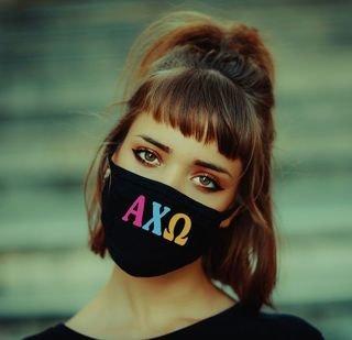 Alpha Chi Omega Rainbow Face Mask