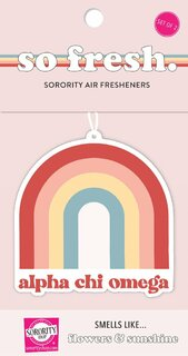 Alpha Chi Omega Rainbow Retro Air Freshener - Flowers & Sunshine Scent