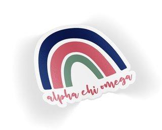 Alpha Chi Omega Rainbow Sticker