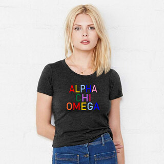 Alpha Chi Omega Rainbow Triblend Short Sleeve Tee