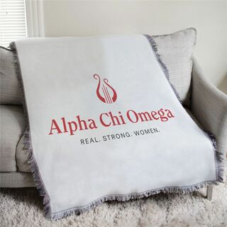 Alpha Chi Omega Real Strong Women Afghan Blanket Throw