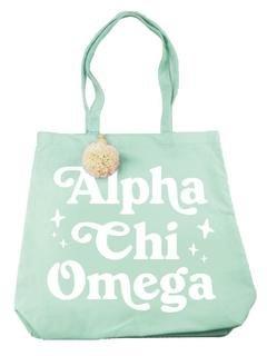 Alpha Chi Omega Retro Pom Pom Tote Bag