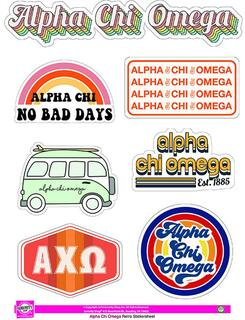 Alpha Chi Omega Retro Sticker Sheet