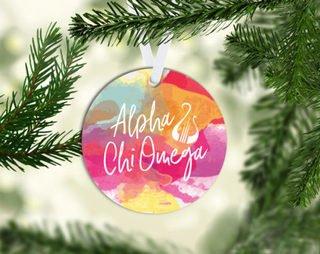 Alpha Chi Omega Round Acrylic Watercolor Ornament