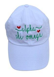 Alpha Chi Omega Script Hearts Ball Cap