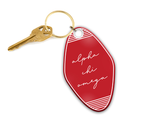Alpha Chi Omega Script Motel Keychain