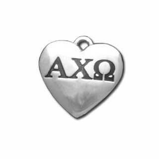 Alpha Chi Omega Silver Greek Heart Charm