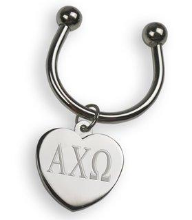 Alpha Chi Omega Silver Heart Keyring