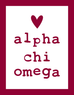 Alpha Chi Omega Simple Heart Sticker