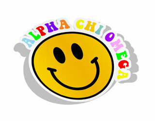 Alpha Chi Omega Smiley Face Decal Sticker