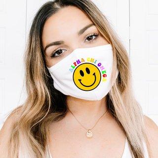 Alpha Chi Omega Smiley Face Face Mask