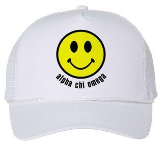 Alpha Chi Omega Smiley Face Trucker Hat