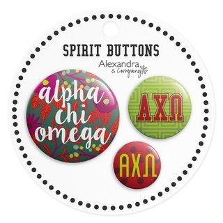 Alpha Chi Omega Sorority New Spirit Button Set
