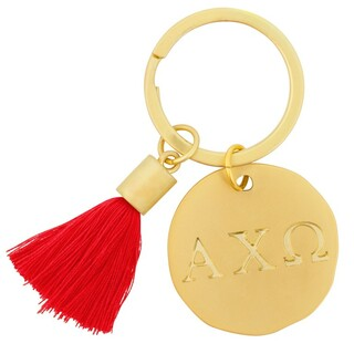 Alpha Chi Omega Sorority Tassel Gold Key Chain