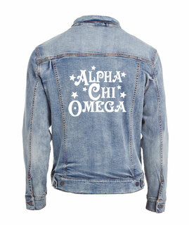 Alpha Chi Omega Star Struck Denim Jacket
