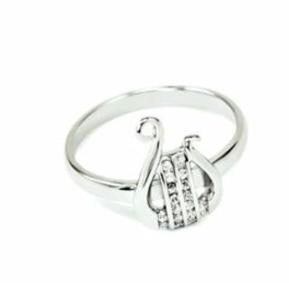 Alpha Chi Omega sterling silver Lyre ring with synthetic diamonds