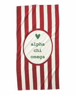 Alpha Chi Omega Striped Beach Towel