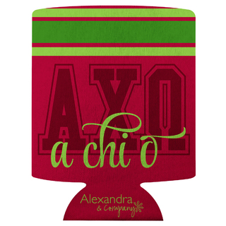 Alpha Chi Omega Striped Can Cooler