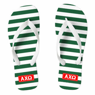 Alpha Chi Omega Striped Flip Flops